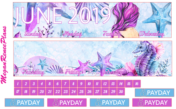 June 2019 Monthly View Planner Kit for the Classic Happy Planner - Mermaid