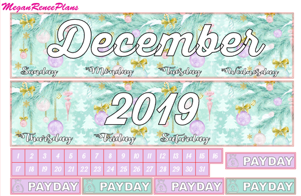 December Monthly View Planner Kit for the Erin Condren Life Planner - MeganReneePlans