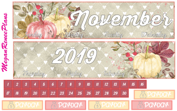 November 2019 Monthly View Planner Kit for the Erin Condren Life Planner