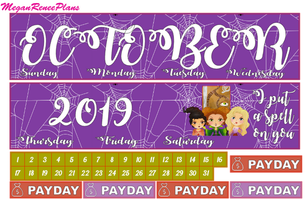 October 2019 Monthly View Planner Kit for the Classic Happy Planner - Hocus Pocus