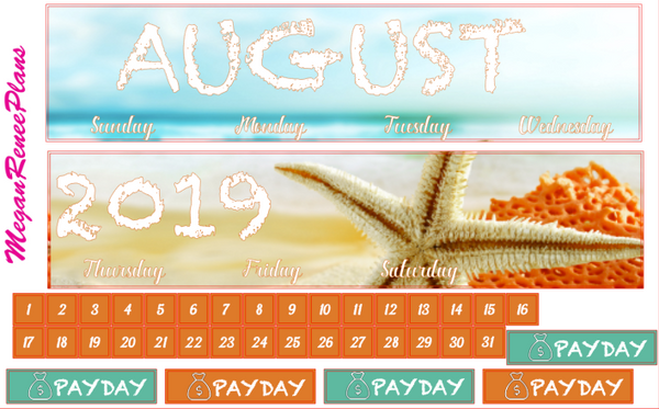 August 2019 Monthly View Planner Kit for the Classic Happy Planner - Beach