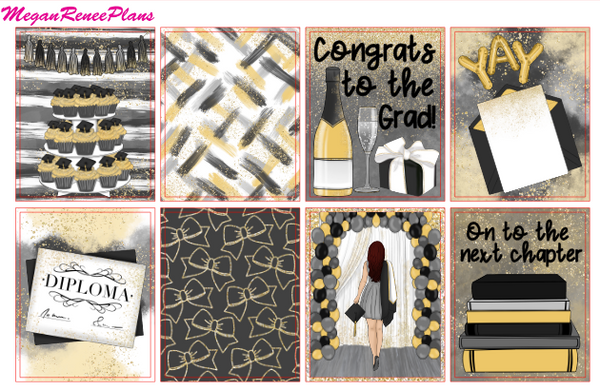Graduation Themed Weekly Planner Kit for the Erin Condren Life Planner Vertical
