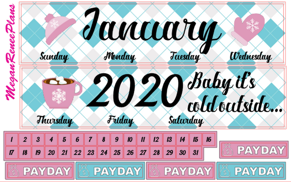 JANUARY 2020 or 2021 MONTHLY VIEW KIT FOR THE CLASSIC HAPPY PLANNER - MeganReneePlans