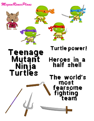 TMNT Teenage Mutant Ninja Turtles Inspired Mini Deco Quote Sheet