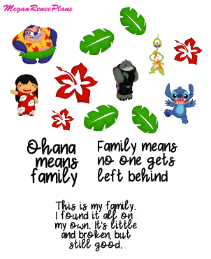 Lilo and Stitch Inspired Mini Deco Quote Sheet