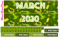 MARCH 2020 or 2021 ST PATRICKS THEME MONTHLY VIEW KIT FOR THE ERIN CONDREN LIFE PLANNER - MeganReneePlans