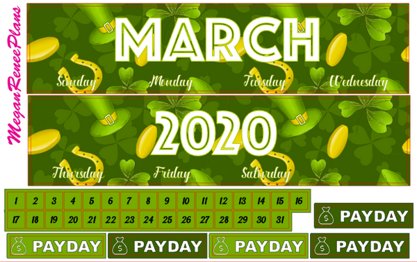 MARCH 2020 or 2021 ST PATRICKS THEME MONTHLY VIEW KIT FOR THE CLASSIC HAPPY PLANNER