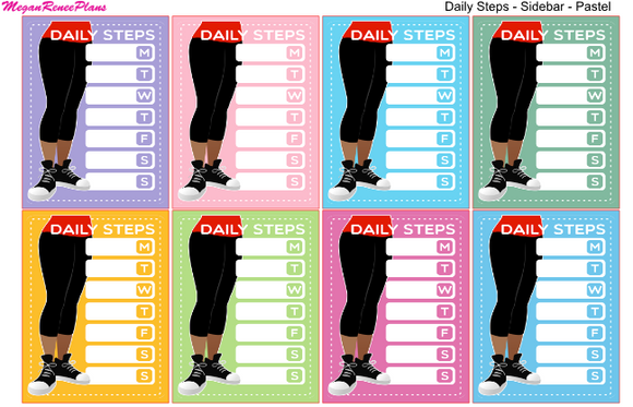 Weekly Step Tracker Side Bar Matte Planner Stickers