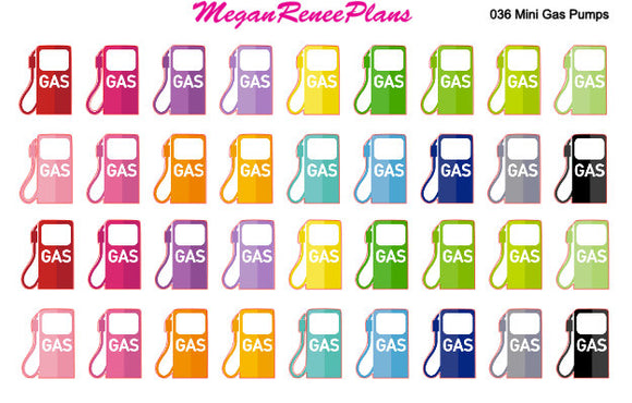 Mini Gas / Fuel Matte Planner Stickers 36 per sheet for the Erin Condren Life Planner