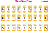 Prescription Bottle Refill Matte Planner Stickers - MeganReneePlans