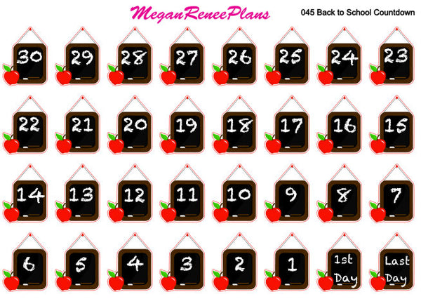 Back to School Countdown Matte Planner Stickers - MeganReneePlans