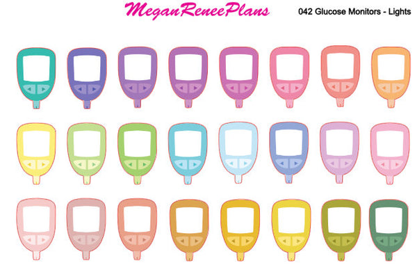 Diabetic Blood Sugar Glucose Monitor Matte Planner Stickers