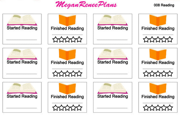 Reading / Started Reading / Finished Reading Matte Planner Stickers
