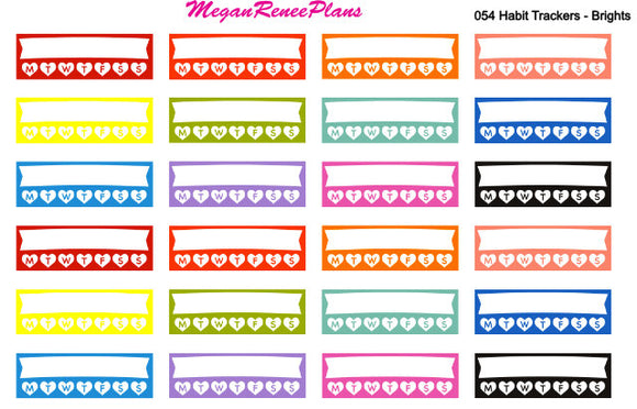 Multi Color Weekly Habit Tracker Side Bar Planner Stickers