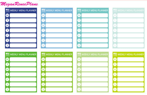 Weekly Meal Planner Habit Tracker Side Bar Matte Planner Sticker 8 per sheet - MeganReneePlans