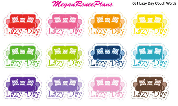 Lazy Day Couch, Couch, Matte Planner Stickers - MeganReneePlans
