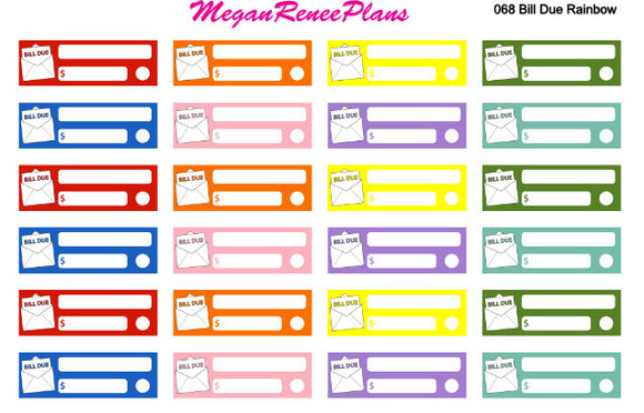 Bills Due Weekly Bills Monthly Bills Matte Planner Stickers