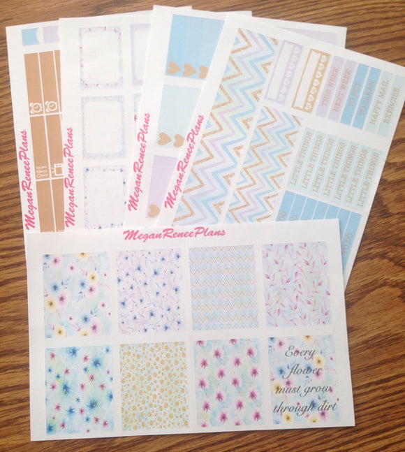 Pastel Flowers Weekly Kit for the Erin Condren Life Planner Vertical