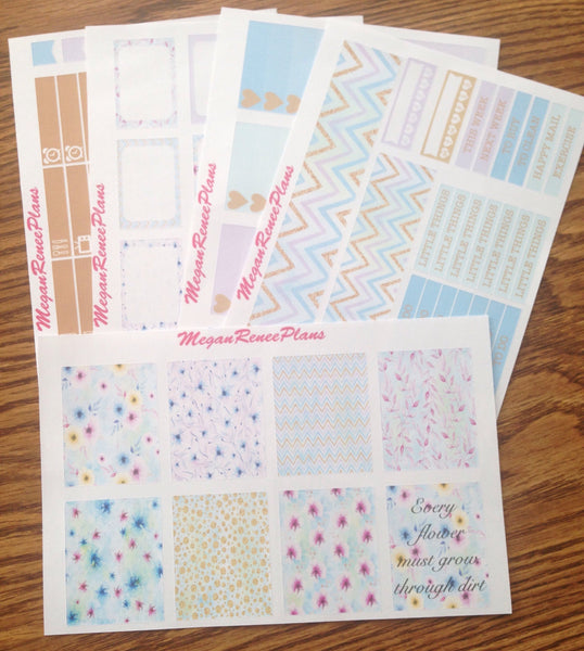 Pastel Flowers Weekly Kit for the MAMBI Happy Planner Classic - MeganReneePlans