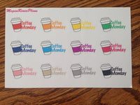 Coffee I Coffee Monday I Mini Coffee Cup Matte Planner Stickers - MeganReneePlans