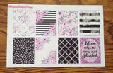 Purple Bloom Weekly Kit matte planner stickers for the Erin Condren Vertical Life Planner