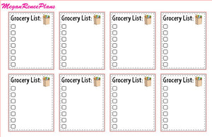 Grocery List Matte Planner Stickers