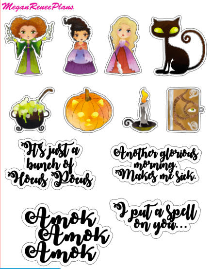 Hocus Pocus inspired deco quote sheet matte planner stickers - MeganReneePlans