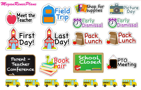 Back to school / school / school days sampler planner stickers - MeganReneePlans