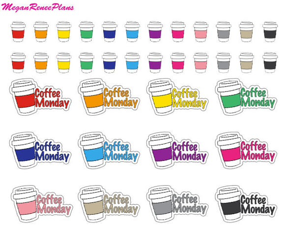 Coffee I Coffee Monday I Mini Coffee Cup Matte Planner Stickers