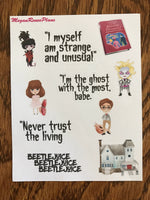 Beetlejuice inspired deco quote sheet matte planner stickers - MeganReneePlans
