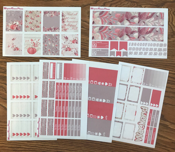 Fall Romance Weekly Kit for the Erin Condren Life Planner Vertical
