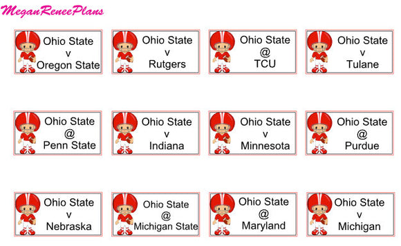 College Football Schedule Planner Stickers for the 2019 Season - all teams avail