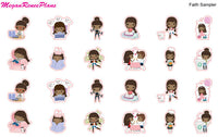 Planner Girl Character Activity Stickers Sampler Multiple Hair Colors Available - MeganReneePlans