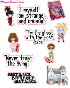 Beetlejuice inspired deco quote sheet matte planner stickers