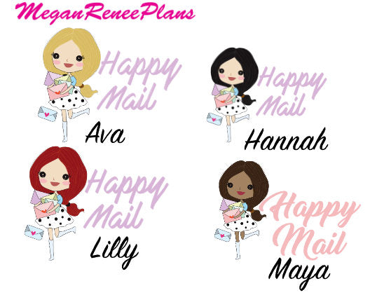 Happy Mail Functional Character Planner Stickers - MeganReneePlans