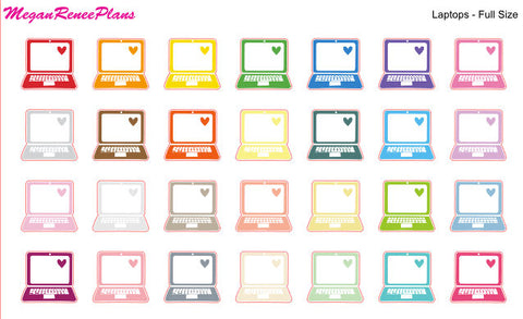 Laptop Matte Planner Stickers - Multi Color- Full Size or Mini Size