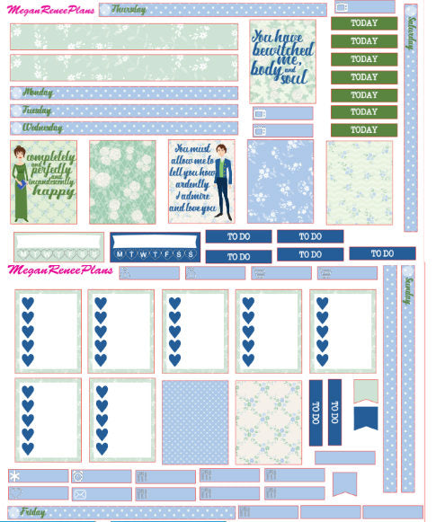 Pride and Prejudice Weekly Kit for the Mambi Mini Happy Planner - MeganReneePlans