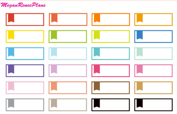 Flag Appointment Labels Rainbow Colors Matte Planner Stickers