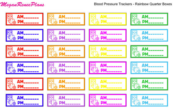 Blood Pressure Trackers for AM and PM Quarter Box Size Matte Planner Stickers - MeganReneePlans