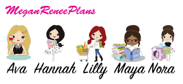 Planner Girl Character Activity Stickers Sampler - Multiple Hair Colors