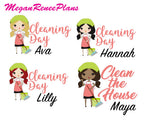 Cleaning Day / Clean the House Functional Character Planner Stickers