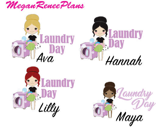 Laundry Day / Laundry Functional Character Planner Stickers
