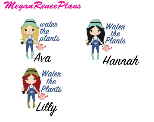 Gardening / Water the Plants Functional Character Planner Stickers - MeganReneePlans