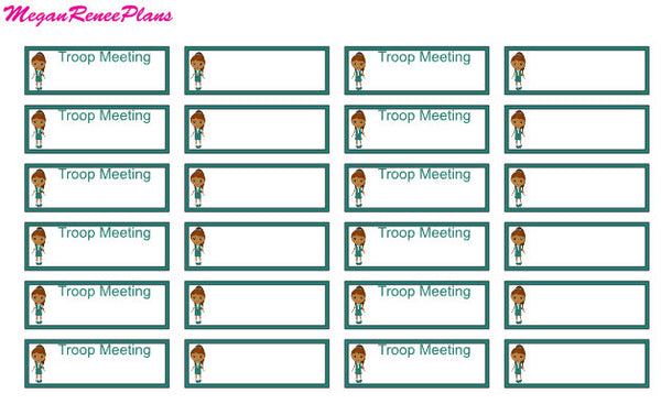 Girl Scout Troop Meeting Quarter Box or Half Box sized planner stickers