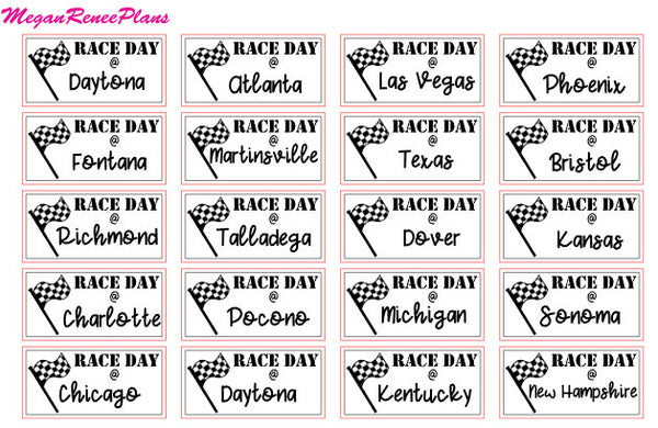 NASCAR 2018 Racing Schedule Matte Planner Stickers