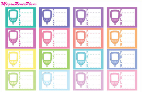 Diabetic Blood Sugar Tracker Glucose Monitor Matte Planner Stickers
