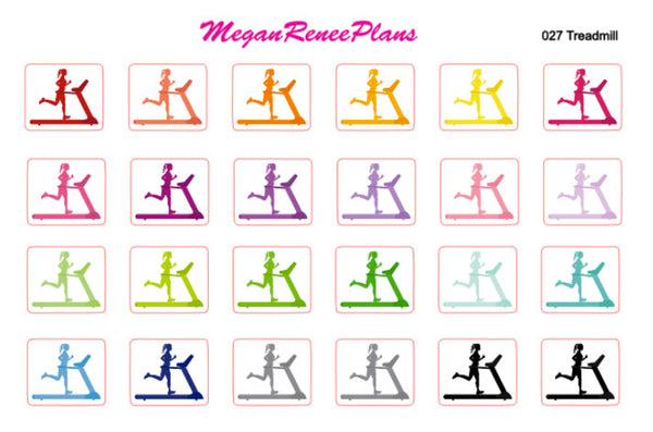 Treadmill Work Out Functional Planner Stickers Rainbow Colors 24 per sheet