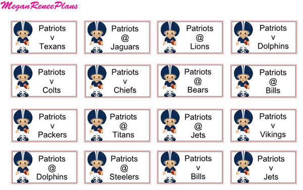 NFL Football Schedule Planner Stickers for the 2020 Season - all teams available - MeganReneePlans