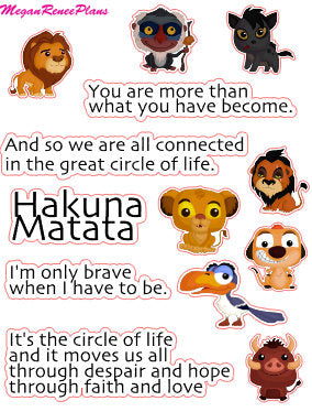 Lion King Inspired Mini Deco Quote Sheet - MeganReneePlans