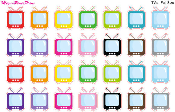 Television TV Matte Planner Stickers